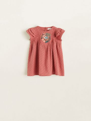 שמלה בהדפס נקודות עם עיטור רקמה/ בייבי בנות