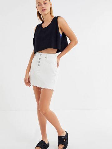 חצאית ג'ינס מיני עם קרעים וסיומת גזורה BDG