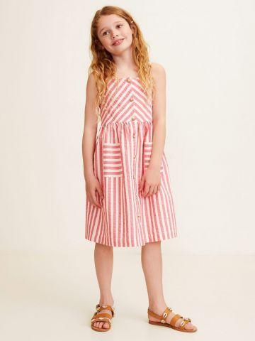 שמלת מידי מכופתרת בהדפס פסים / בנות