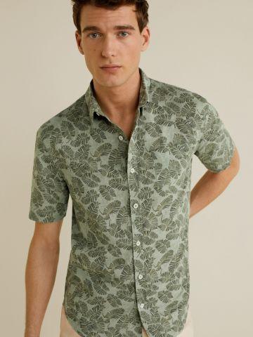 חולצת פשתן מכופתרת בהדפס עלים
