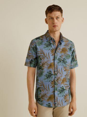 חולצה מכופתרת עלים עם שרוולים קצרים