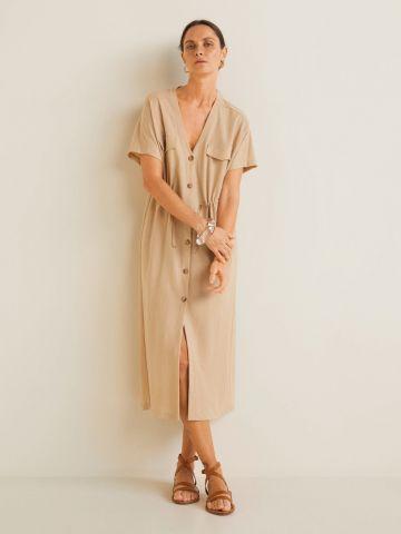 שמלת מידי מכופתרת עם שרוולים קצרים