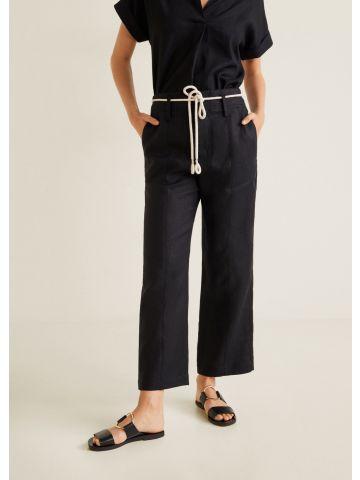 מכנסי פשתן עם חגורת קשירה