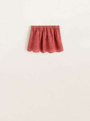 חצאית עם עיטורי תחרה וסיומת רקומה / בייבי בנות