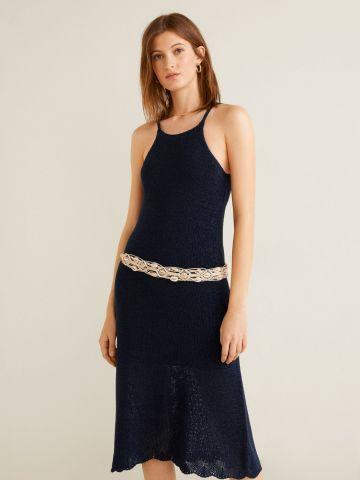 שמלת סריג מידי עם סיומת גלית