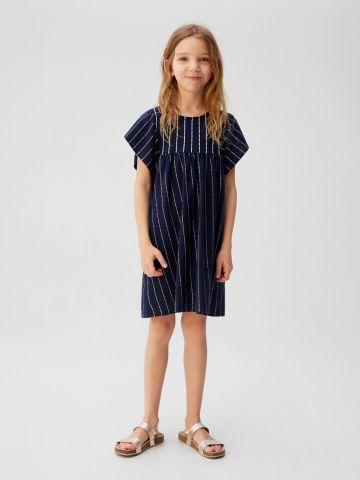 שמלה בהדפס פסים עם שרוולי עטלף