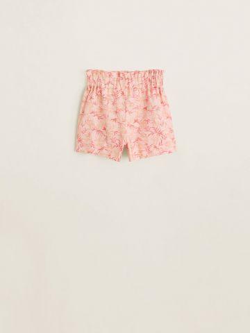 מכנסיים קצרים מפשתן בהדפס עלים / בנות