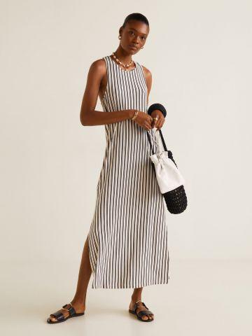שמלת מקסי בהדפס פסים עם סלסול בגב
