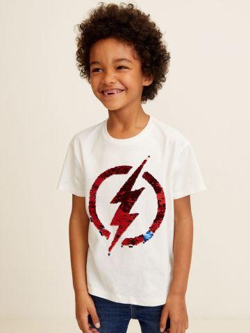 טי שירט עם פאייטים בכיוונים מתחלפים The Flash / בנים