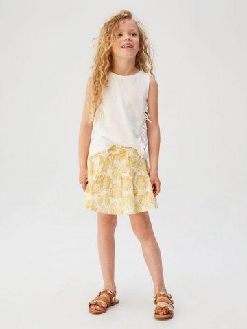 חצאית בהדפס עלים עם חגורת קשירה / בנות