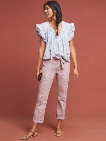 מכנסיים ארוכים עם חגורת מעוינים בוהו