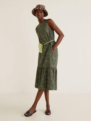 שמלת מידי בהדפס מנומר עם פפלום נמוך