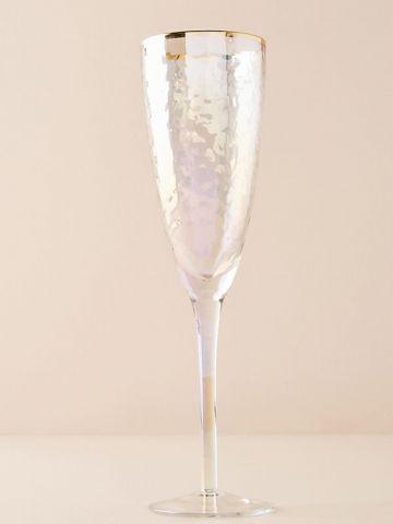 מארז 4 כוסות שמפניה מזכוכית עם שפה מוזהבת