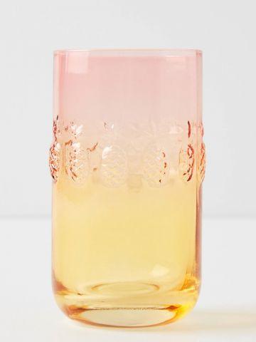 כוס זכוכית אומברה לשתייה עם עיטורי אננסים