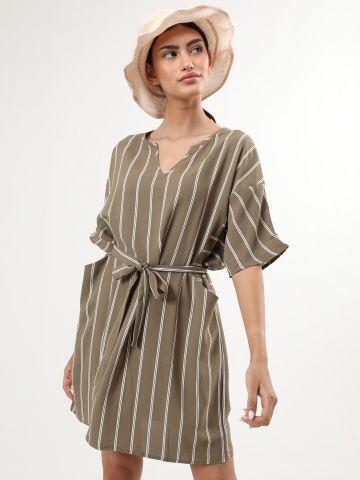 שמלת אוברסייז מיני בהדפס פסים