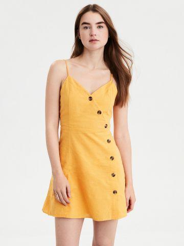 שמלת מיני אסימטרית מכופתרת