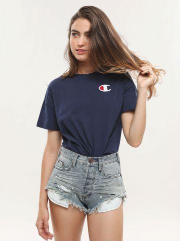 ג'ינס ווש קצר עם כתמי צבע