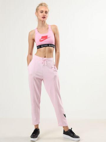 מכנסי טרנינג בגזרה גבוהה עם הדפס לוגו