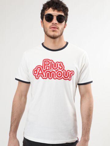 טי שירט רינגר עם הדפס Plus Amour