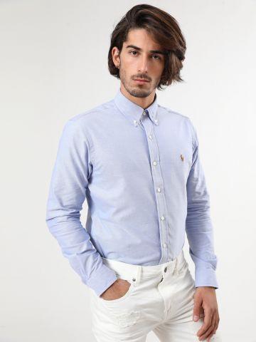 חולצה מכופתרת עם רקמת לוגו Custom Fit