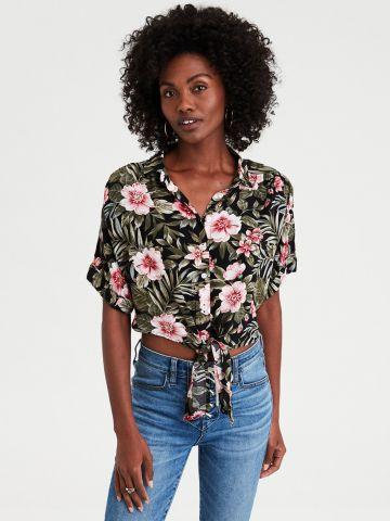חולצת קשירה בהדפס פרחים