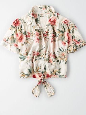 חולצת קשירה בהדפס פרחים / נשים