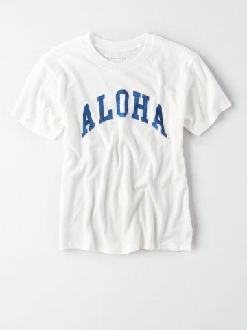 טי שירט עם הדפס Aloha /נשים