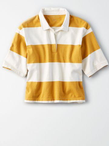 חולצת פולו אוברסייז בהדפס פסים / נשים