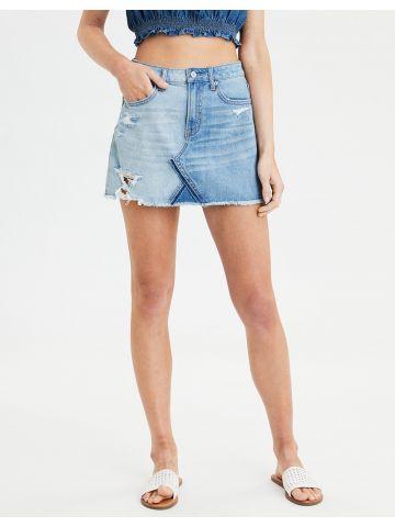חצאית מיני ג'ינס עם קרעים