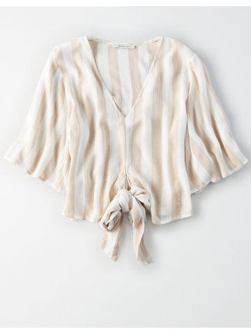 חולצת קרופ פסים עם אלמנט קשירה / נשים