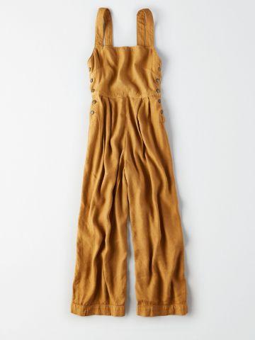 אוברול פשתן ארוך עם כפתורים / נשים