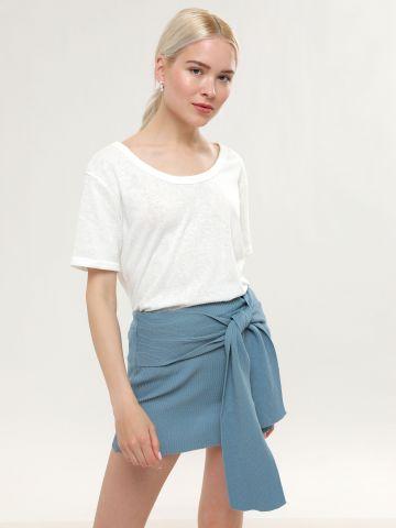 חצאית סריג ריב מיני עם אלמנט קשירה