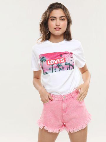 ג'ינס ווש קצר עם פרנזים בסיומת