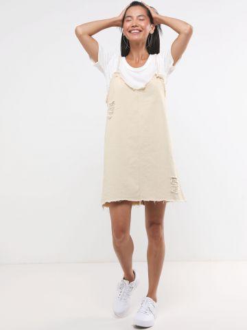 שמלת ג'ינס מיני עם סיומת פרומה