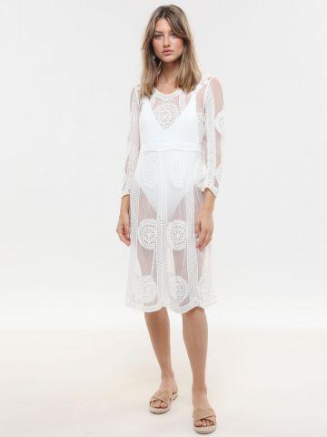 שמלת חוף מידי עם עיטורי תחרה של TERMINAL X