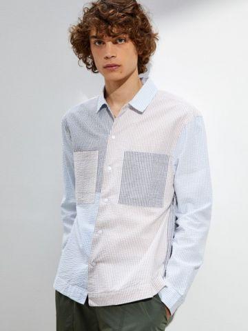 חולצה מכופתרת קולור בלוק פסים UO