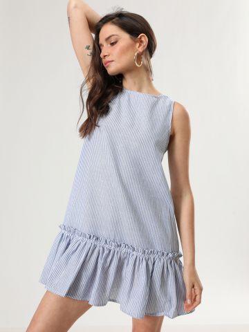 שמלת מיני פפלום בהדפס פסים של TERMINAL X