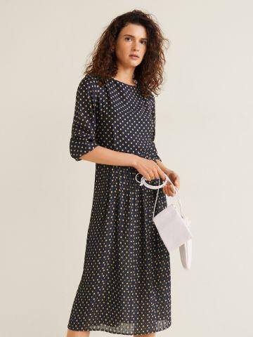 שמלת מידי בהדפס נקודות עם גב פתוח