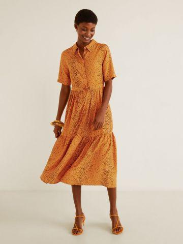 שמלת פפלום מידי בהדפס מנומר