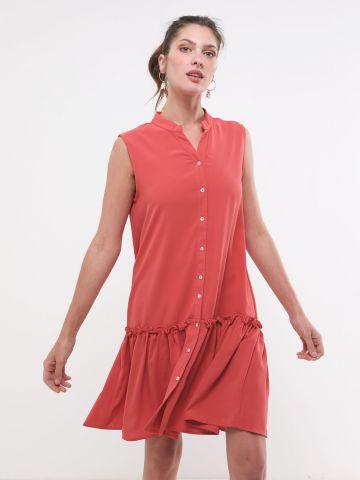 שמלה מכופתרת בסיומת פפלום