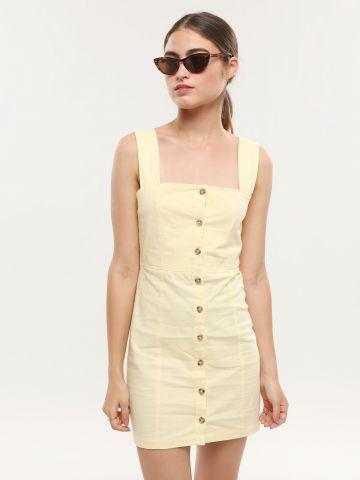 שמלה מכופתרת מיני עם מפתח מרובע