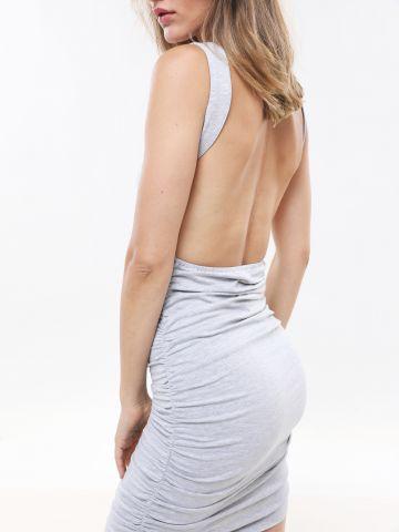 שמלת כיווצים מיני עם גב פתוח