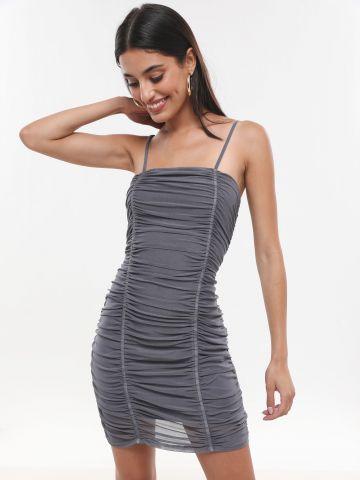 שמלת רשת מיני עם כיווצים