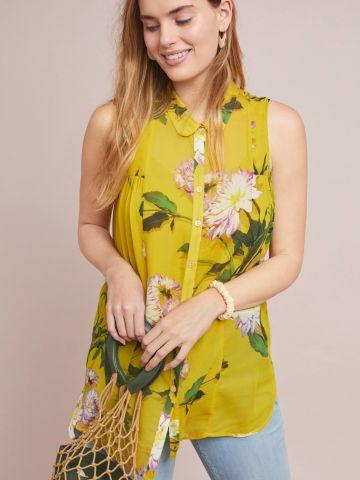 חולצה ללא שרוולים מכופתרת בהדפס פרחים Maeve