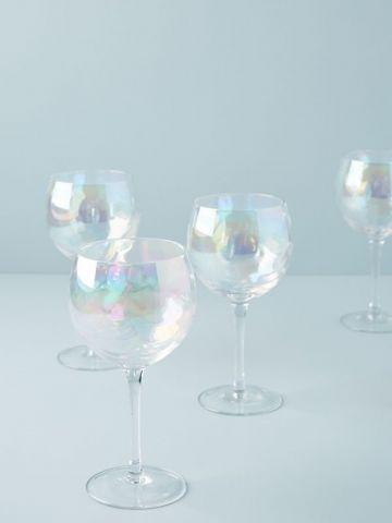 מארז 4 כוסות יין רחבות מזכוכית Gather