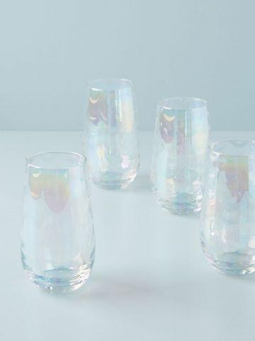 מארז 4 כוסות שתייה גבוהות מזכוכית Gather