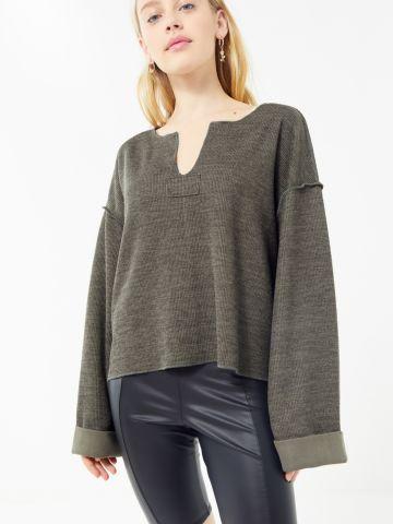 חולצת ריב אוברסייז עם תפרים בולטים UO