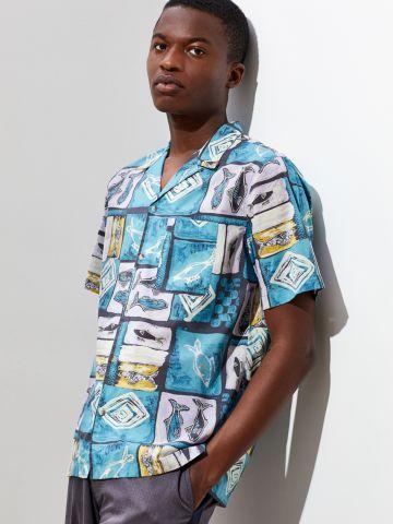 חולצה מכופתרת קצרה בהדפס וינטג' UO