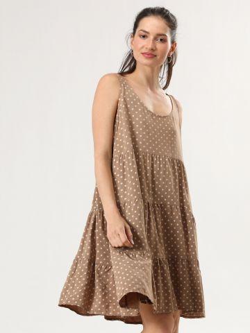 שמלת מידי קומות בהדפס נקודות