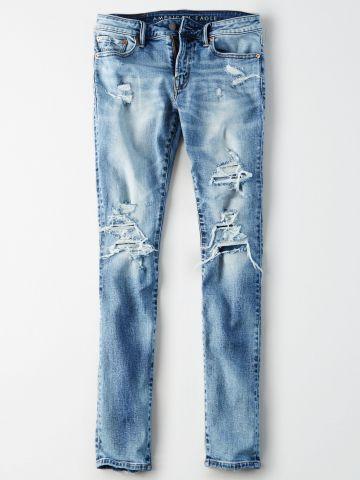ג'ינס סקיני בשטיפה בהירה עם קרעים Skinny / גברים